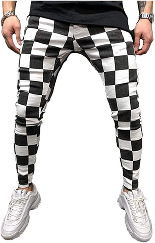 Mens Chinos Mens Hip Hop Premium Slim Fit Track Pants Stretch Flat-Front Skinny Dress Pants Athletic Jogger Bottom