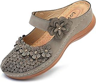 gracosy Mules Donna Zoccoli Pantofole in Pelle Estate Loafer Gomma Spiaggia Sandali Mules Piatto Scarpe Slip-On Backless A...