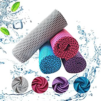 Serviette rafraîchissante,4 pcs Serviette Microfibre de Sport,Cooling Towel pour Une Absorption instantanée de l'eau Froide,pour Yoga/Voyage/Fitness/Plage/ Golf/Gym. (100 × 30 cm)