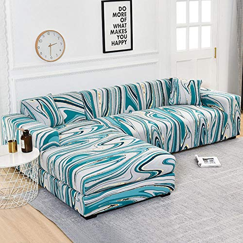 B/H Forma L Protector para Sofá de,Fundas de sofá en Forma de L para Sala de Estar Funda de sofá elástica Funda de sofá de Esquina-2_3seater_and_3seater,Poliéster y Spandex Funda Sofa