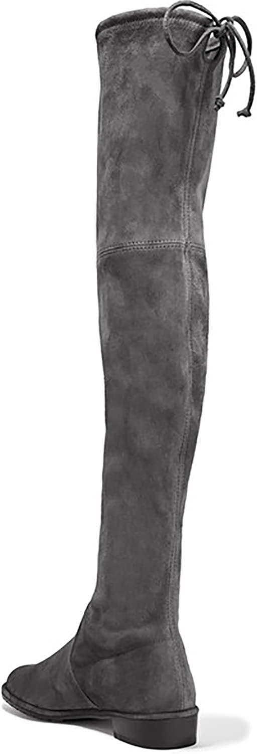 Kmeioo Knee High Boots, Women's Stretch Suede Over The Knee Boots Round Toe Flat Heel Tall Boots