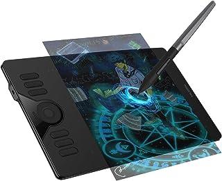 HUION HS610 Tableta gráfica de 10 * 6.25 Pulgadas para PC Adaptador OTG para teléfonos Android, Touch Ring y 12 + 16 Teclas rápidas, lápiz sin batería con 266PPS de inclinación