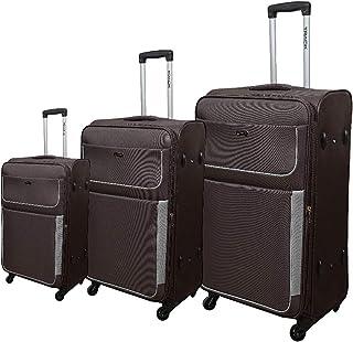 Track Luggage - 3Piece Soft Trolley Set - BROWN