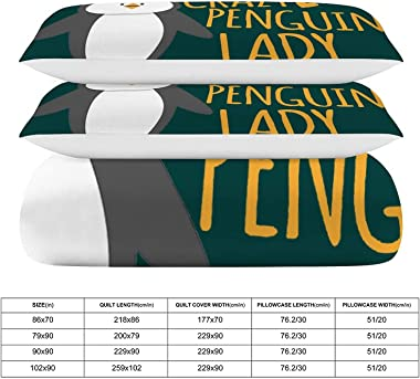 Crazy Penguin Lady Lightweight Comforter Metal Zipper Hidden Design Not Easy Pillinghigh Color Fastness