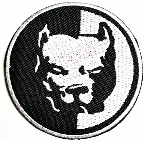 HHO Pitbull Dog Pet Logo Biker Hog Outlaw Motorcycle Leather Jackets Custom Patch Embroidered DIY Patches, Cute Applique Sew Iron on Kids Craft Patch for Bags Jackets Jeans Clothes