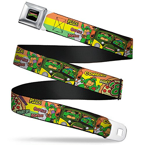 Buckle-Down Seatbelt Belt - Classic TMNT Turtles Pose14 '84 Pizza/Verbiage - 1.0' Wide - 20-36 Inches in Length