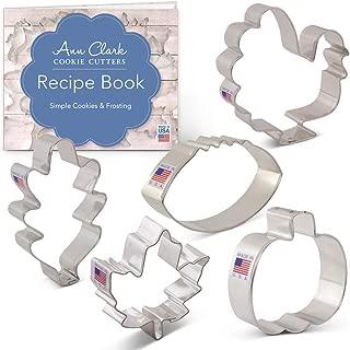 Ann Clark Cookie Cutters 5-Piece Fall Thanksgiving Cookie Cutter Set with Recipe Booklet, Maple Leaf, Turkey, Oak Leaf, Pumpkin, Football