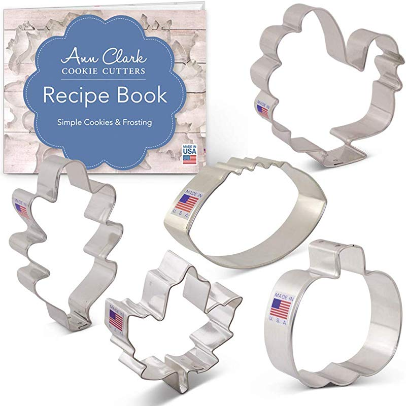 Ann Clark Cookie Cutters 5 Piece Fall Thanksgiving Cookie Cutter Set With Recipe Booklet Maple Leaf Turkey Oak Leaf Pumpkin Football