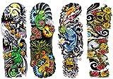 DaLin 4 Sheets Extra Large Temporary Tattoos, Full Arm (Set 1)