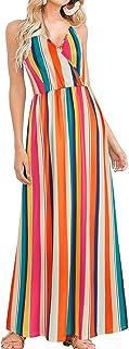 LAISHEN Women's Sundress V Neck Floral Print Backless Beach Party Maxi Dress wit