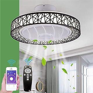 Ventilador de techo con lámpara de iluminación de techo de la velocidad del viento ajustable luz LED regulable con mando a distancia lámpara techo moderna 46W para dormitorio Sala Comedor 50CM negro