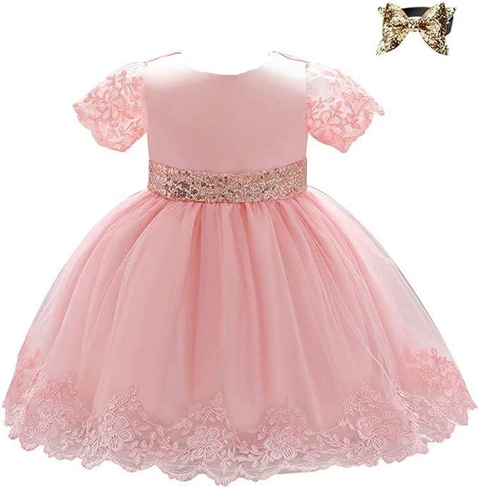 Baby Madchen Kleider Hochzeit Party Formell Kinder Baby Prinzessin Tutu Blumen Kleid Gr 0 6 Monate Blush Pailletten Schleife Amazon De Bekleidung