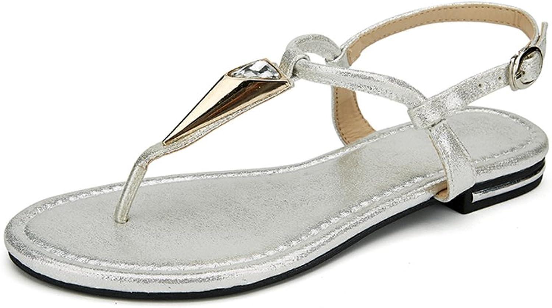 Defais Women's Open Toe Ankle Strap Flat Flip Flops Thong Sandal