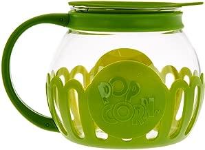 Ecolution Micro-Pop Microwave Popcorn Popper 1.5 QT - Temperature Safe Glass w/Multi Purpose Lid, Snack Size, Green