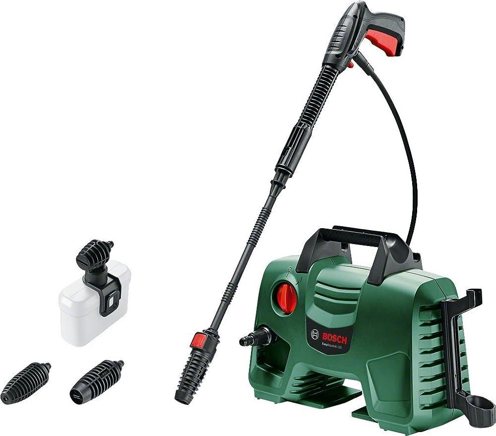 Bosch EasyAquatak 120 Limpiador de alta presión (3 x boquilla, pistola de alta presión, filtro de agua transparente, cable de 5 m, caja, 1500 vatios, presión: 120 bar, caudal máximo: 350 l / h)