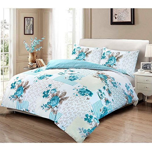 Bettwäsche-Set aus 100 % Baumwolle, Motiv: Viktorianische Rose (Blumenmuster), in verschiedenen Größen erhältlich, 100 % Baumwolle, blau, Einzelbett