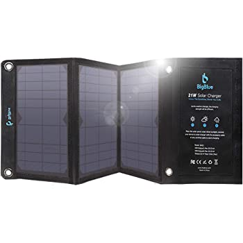 Samsung Galaxy S9 S8 3.8A Max Total Foldable Waterproof Outdoor Solar Panels Charger Compatible with iPhone Xs XS Max XR X 8 7 Plus iPad BigBlue 21W Solar Charger with Dual USB Ports LG etc.