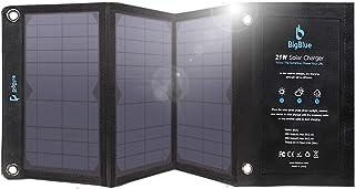 BigBlue Cargador Panel Solar, 21W Cargador Solar Portátil y Impermeable con 2 Puertos USB (3.8A Total Máximo) para Smartphones, Tabletas y Dispositivos USB