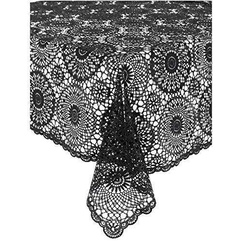 KERSTEN Tischdecke abwischbar wetterfest 'Crochet', 137 x 180cm, Dunkelgrau