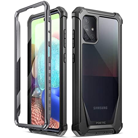 Poetic Guardian Series for Samsung Galaxy A71 5G Case, [Not Fit Verizon A71 5G UW] [Not Fit A71 4G] Full-Body Hybrid Shockproof Bumper Cover with Built-in-Screen Protector, Black/Clear