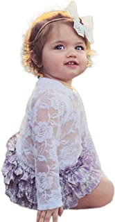 Infant Baby Girls Tulle Lace Peter Pan Collar Long Sleeve Ropmer Jumpsuit Playsuit Outfits