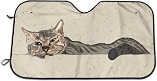 UPhappiness Home Car Windshield Sun Shade Lazy Sleepy Cat Sunshade Portable Visor Folding Car Front Universal UV Protect Outdoor Size 51.2X 27.5 Inch