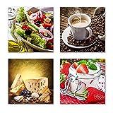 Küchen Bilder Set F schwebend, 4-teiliges Bilder-Set jedes