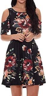 Comfort Women's Dress Summer, Casual Print Summer Off-The-Shoulder Round Neck Loose Vacation Bohemian Skirt Sundress Beach T-Shirt Dress Evening Blue (Color : Black, Size : XXXL)