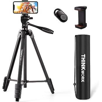 THINKWORK - Trípode ligero de 55 pulgadas para teléfono y cámara, trípode con mando a distancia Bluetooth, soporte para teléfono móvil y bolsa de transporte