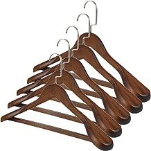TRIXES 5PC Wooden Hangers –Clothes Suits Coat Hangers – Stylish Dark Oak – Non-Slip – with Trouser Bar – Wide Shoulder – Swivel Hook - Colour Brown -45cm