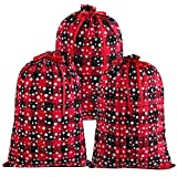 Aneco 3 Pieces Buffalo Plaid Bags with Snow Pattern Cotton Present Bags Wrapping Drawstring Bag...