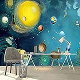 Wallpaper-Cartoon Cosmic Starry Space Journey Kinderzimmer Schlafzimmer Hintergrund Wandtuch Kindergarten Fototapete,350Cm(W) X 260Cm(H)