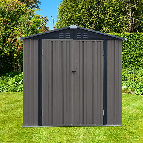 Garden Storage Buildings Sheds 6x4 FT Outdoor Metal Utility Tool Storage with Double Door & Lock for Tools