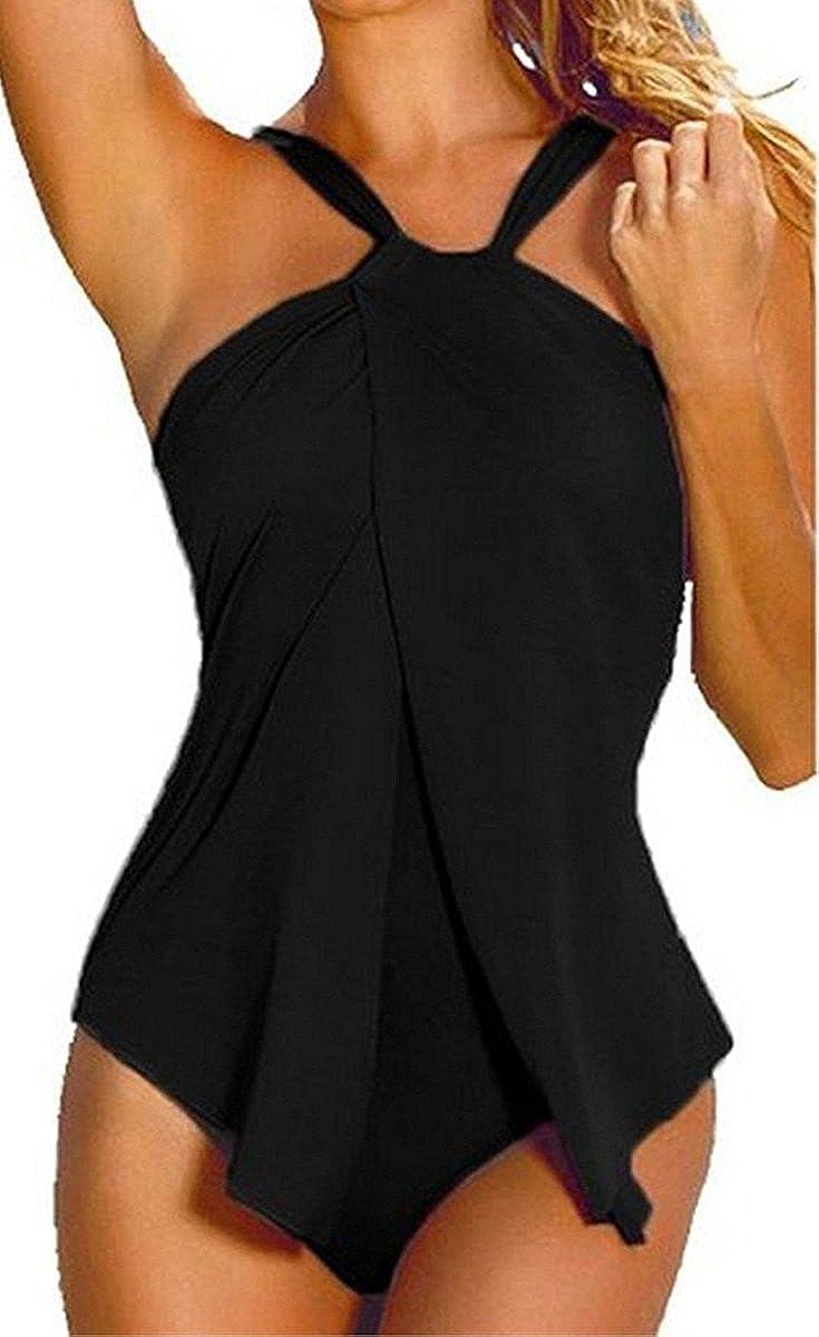 Sorrica Women's Elegant Halter One Piece Swimsuit Monokini Padded Tankini Swimdress