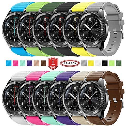 FunBand Correa para Gear S3 Frontier, 22MM Reemplazo de Banda de Silicona Suave Deportiva Pulsera de Repuesto para Samsung Gear S3 Frontier/Galaxy Watch 46mm / Moto 360 2nd Gen 46mm Smart Watch