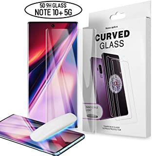 AICase Galaxy Note 10 Plus 5G Screen Protector Tempered Glass,9H Full 3D Curved Edge Solution for Ultrasonic Fingerprint Shield Liquid Dispersion Tech with UV Light for Samsung Galaxy Note 10+ 5G