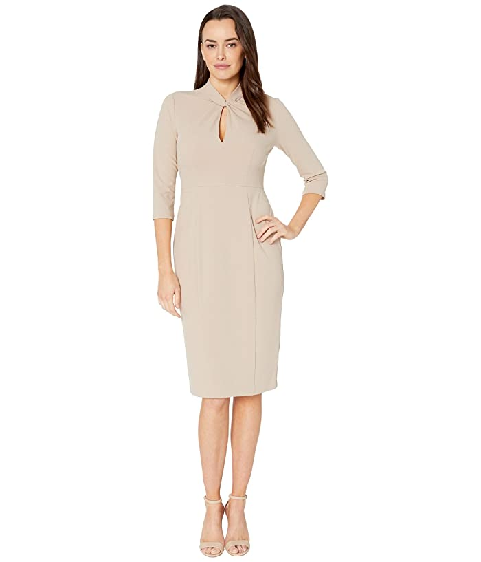 Donna Morgan  Long Sleeve Crepe Sheath with Twisted Neckline (Taupe) Womens Dress