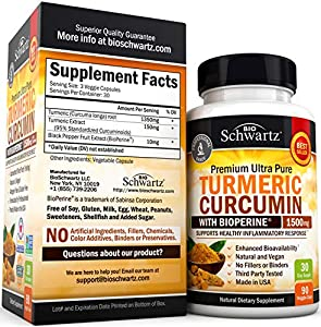 Turmeric Curcumin with BioPerine 1500mg. Highest Potency Available. Premium Joint & Healthy Inflammatory Support with 95% Standardized Curcuminoids. Non-GMO, Gluten Free Capsules with Black Pepper #1