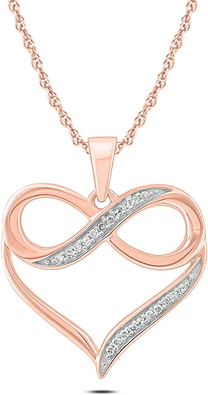 Cali Trove 10K Gold 1/20ct Round White Diamond Infinity Heart Pendant Necklace for Women