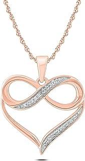 Sponsored Ad - Cali Trove 10K Gold 1/20ct Round White Diamond Infinity Heart Pendant Necklace for Women