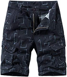 waitFOR Mens Summer Printed Combat Cargo Shorts with Button Zipper, Men Casual Elastic Waist Work Shorts for Men Slim Fit ...