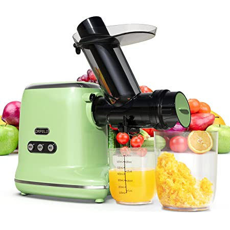 Juicer Machines, ORFELD Easy Cleaning & Quiet Motor Masticating Juicer Machines for Vegetables and Fruits (Motcha Green)