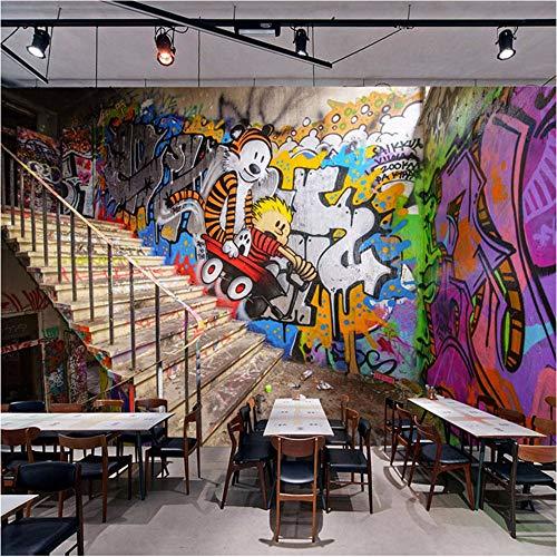Qwerlp Moderna Street Art Graffiti Stereoscopico Scala Bar Ktv Cafe Murale Sfondo Foto Carta Da Parati Pittura-310Cmx230Cm