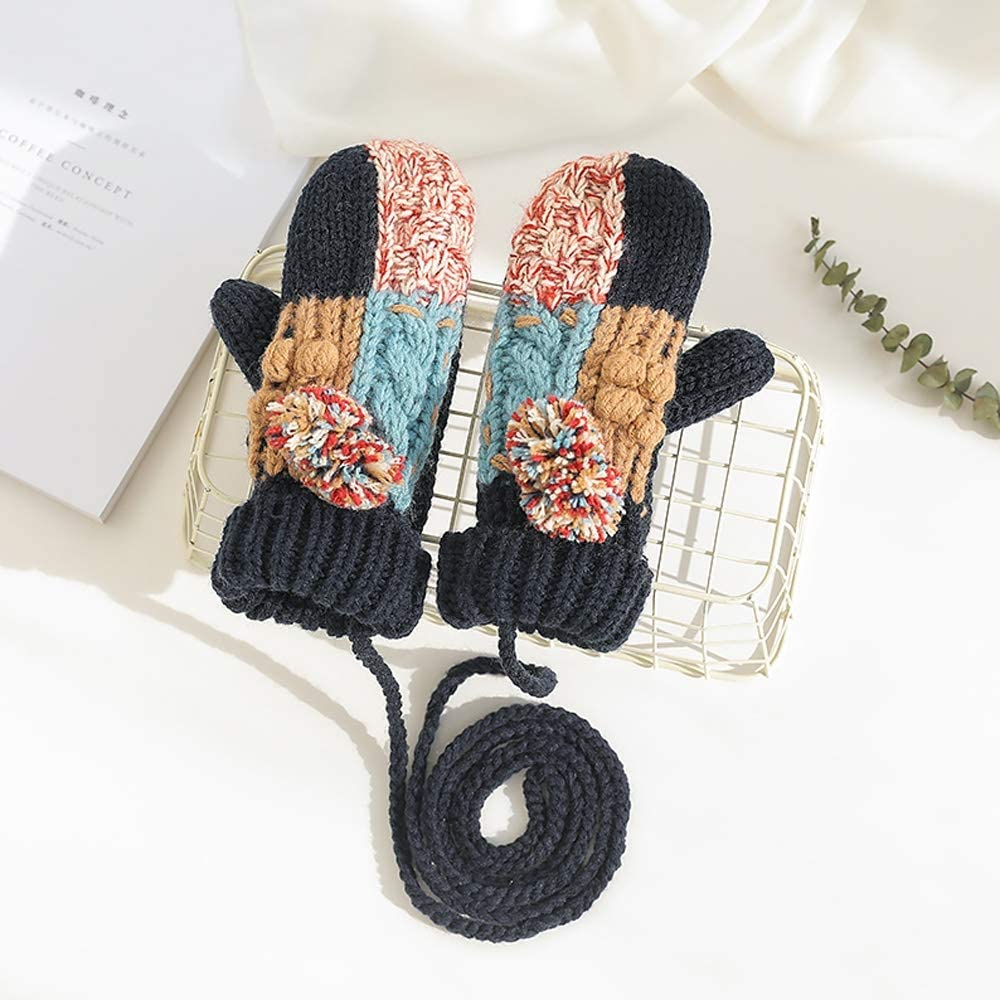 Rebily Hand-Knit Color Matching Autumn and Winter Ladies Gloves Hanging Neck Plus Velvet Keep Warm Cold Protection One Size Gloves