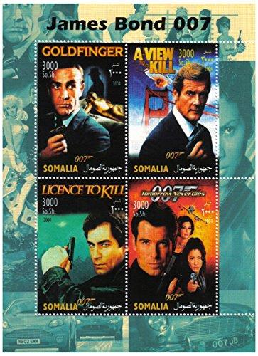 Stampbank James Bond 007 Menthe Feuille de Timbres pour Les collectionneurs de Vieux alambics mettant en Vedette des Films de James Bond/Somalie / 2004