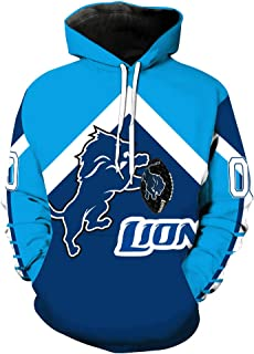 Men's Hooded Long Sleeve 3D Digital Print Detroit Lions Football Team Sports Pullover Hoodies