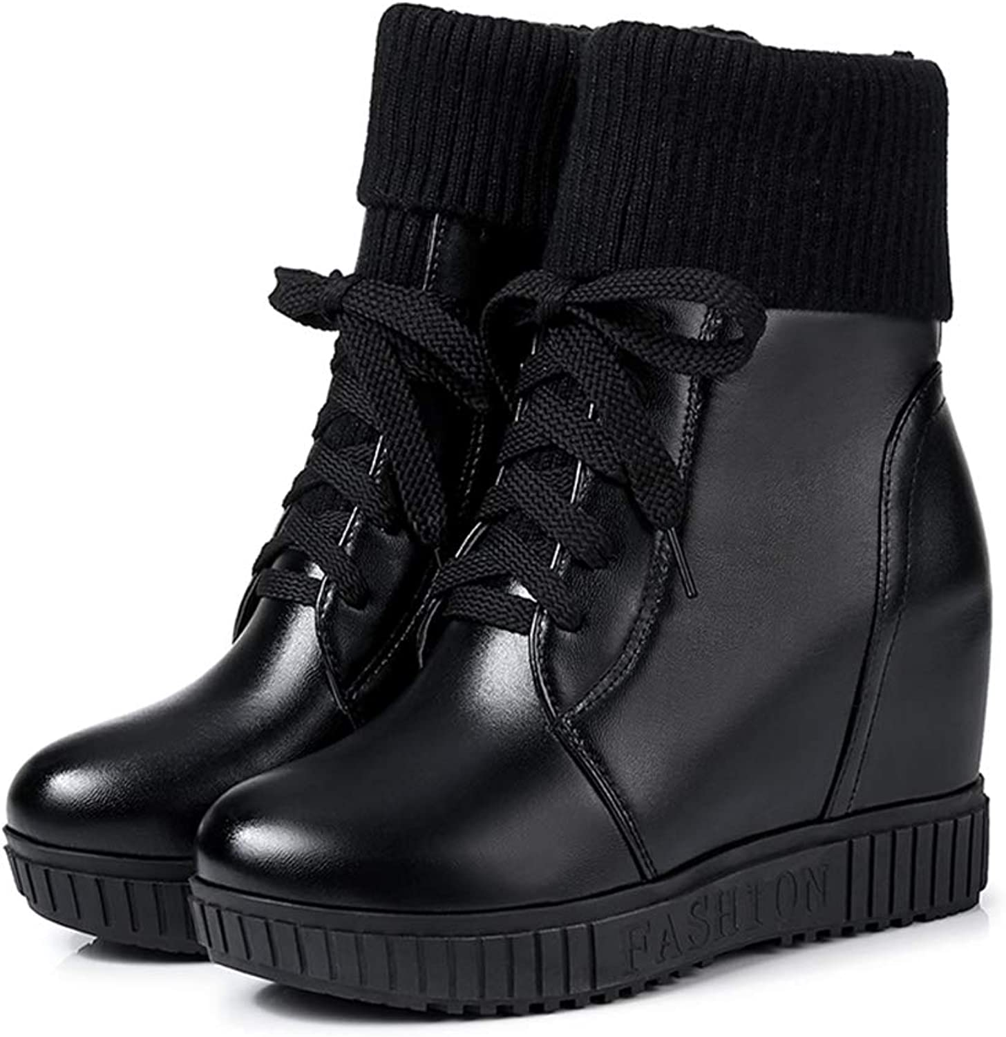 Woman Ankle Boots Lace Up Wedges Height Increasing Round Toe Lace Up Winter Platform Warm Antislip Snow Boots