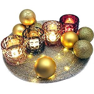Makeke Deko Box – Glänzende Weihnachten (Deko-Set 22-teilig) – Untersetzer, 4 Teelichtgläser, Deko-Kugeln, Lichtdraht