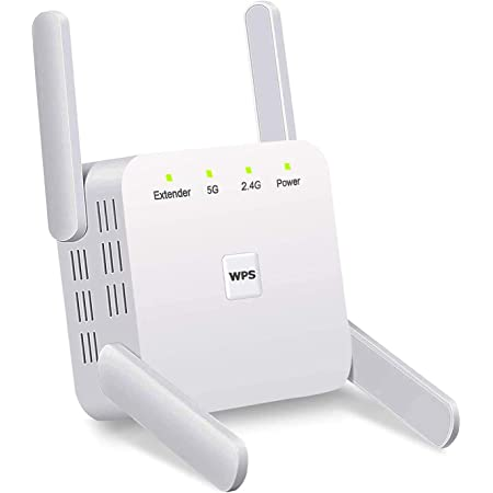 YOUKUKE Repetidor WiFi, 1200Mbps Amplificador Señal WiFi, 2.4GHz y 5GHz Extensor de Red WiFi con WPS, Modo de Punto de Acceso y 4 Antenas Externas…