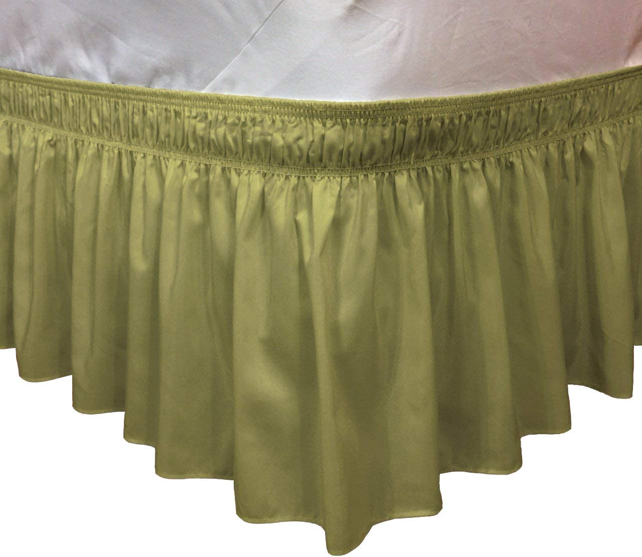CT DISCOUNT STORE Elastic Ruffle Bed Skirt Easy Warp Around King